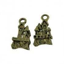 Двухсторонняя металлическая подвеска Старый замок, цвет античная бронза, 10*17 мм (2 штуки)