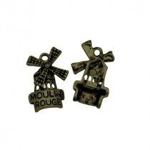 Двухсторонняя металлическая подвеска Мельница, цвет античная бронза, 15*22 мм (2 штуки)