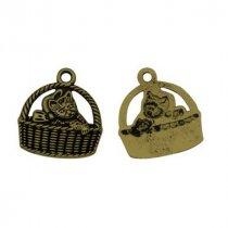 Односторонняя металлическая подвеска Котик в корзинке, цвет античная бронза, 16*14 мм (5 штук)