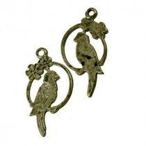 Односторонняя металлическая подвеска Птичка, цвет античная бронза, 16*22 мм (1 штука)