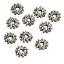№54 Разделители для бусин цветочки 10 мм, цвет - сталь, 10 шт