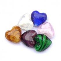 Бусина-сердце стеклянная, 2,7х2,8см, цвет микс, 2 штуки