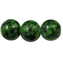 Набор стеклянных бусин №6, 1 см, цвет зеленый, 10 штук