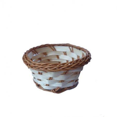 Корзинка плетёная маленькая с коричневой каймой, 10 см