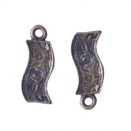 Односторонняя металлическая подвеска $, цвет античная бронза, 8*15 мм (2 штуки)