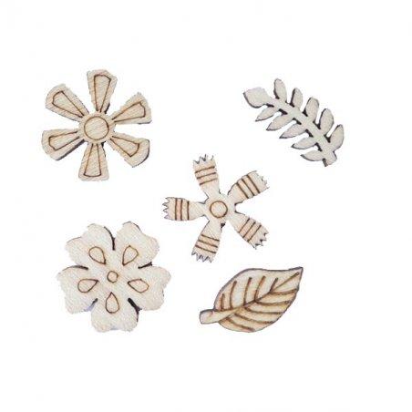 """Набор деревянных мини-фигурок """"Цветы и листики"""", 5 штук"""