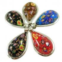 """Кулон-подвеска стеклянный """"Капля"""", 3,7*5,5 см, цвет в ассортименте, 1 штука"""
