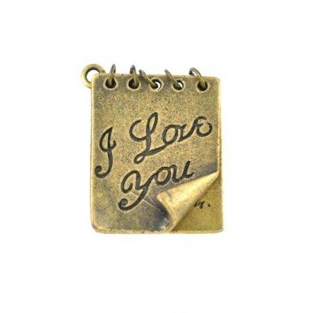 Двухсторонняя двойная металлическая подвеска Открытка I Love you, цвет античное золото, 20*25 мм