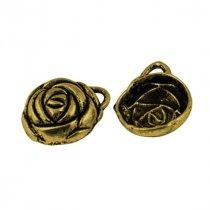 Односторонняя металлическая подвеска Роза, цвет античное золото, 15*20 мм (2 штуки)