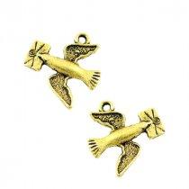Односторонняя металлическая подвеска Почтовый голубь, цвет античное золото, 18*17 мм (2 штуки)