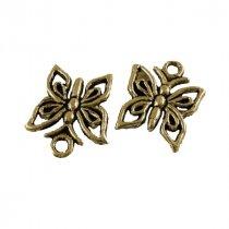 Односторонняя металлическая подвеска Бабочка, цвет античное золото, 12*15 мм (5 штук)