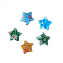 Бусина миллефиори в форме звезды, 1,2 см, цвет микс, 5 штук