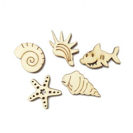 Набор деревянных мини-фигурок Водный мир, 5 штук