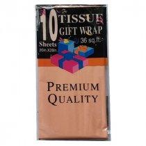 Бумага тишью, цвет - персиковый, 50х65 см, 10 листов
