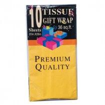Бумага тишью, цвет - яркий желтый, 50х65 см, 10 листов