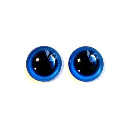 Глаза стеклянные для кукол с бликом, 6 мм, цвет васильковый (пара)