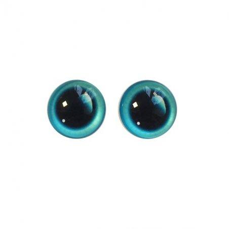 Глаза стеклянные для кукол с бликом, 6 мм, цвет голубой (пара)