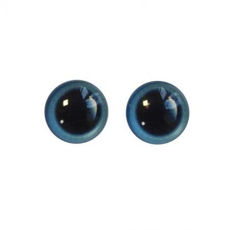 Глаза стеклянные для кукол с бликом, 6 мм, цвет морской волны (пара)