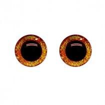 Глиттерные пластиковые безопасные глаза, цвет оранжевый,16 мм (пара)