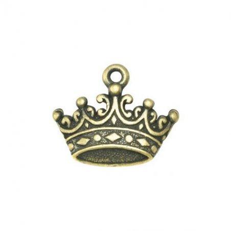 Односторонняя металлическая подвеска Корона, цвет античная бронза, 17*14 мм (2 штуки)