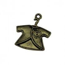 Односторонняя металлическая подвеска Распашонка, цвет античная бронза, 21*24 мм (1 штука)