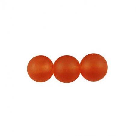 Бусины стеклянные матовые, 8 мм, цвет оранжевый, 10 штук