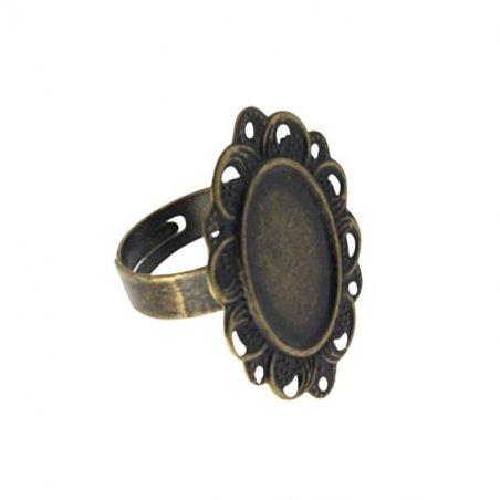 Основа для кольца с овальной платформой 25х32 мм, цвет бронза