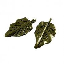 Двухсторонняя металлическая подвеска Листик №1, цвет античная бронза, 17*30 мм (1 штука)