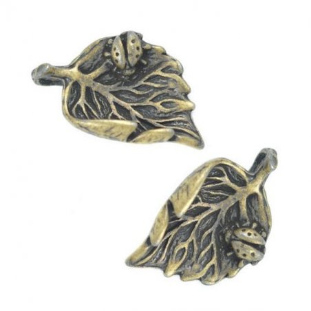 Двухсторонняя металлическая подвеска Листик №2, цвет античная бронза, 14*22 мм (2 штуки)