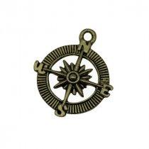 Односторонняя металлическая подвеска Роза ветров, цвет античная бронза, 26*30 мм (1 штука)