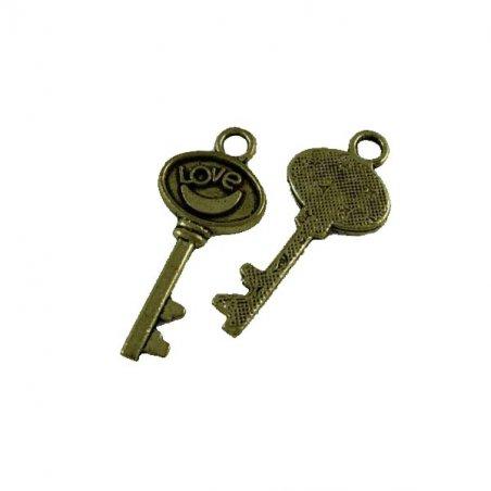 Односторонняя металлическая подвеска Ключ Love, цвет античная бронза, 14*30 мм (2 штуки)