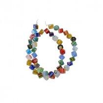 Бусины миллефиори квадратные, 0,6 см, цвет микс, 10 штук