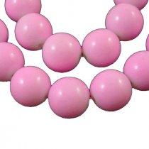 Бусины глянцевые стеклянные круглые, 1 см, цвет розовый, 10 штук