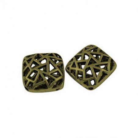 Металлическая ажурная бусина квадратной формы, 1,5*1,5 см, цвет бронза,2 штуки