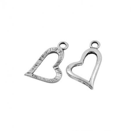 Односторонняя металлическая подвеска Сердечко полое, цвет античное серебро, 12*20 мм (2 штуки)