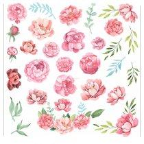 Набор наклеек ( стикеров ) Розовые цветы, 20х20 см (31 наклейка)