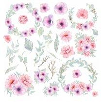 Набор наклеек ( стикеров ) Сиреневые цветы, 20х20 см (28 наклеек)