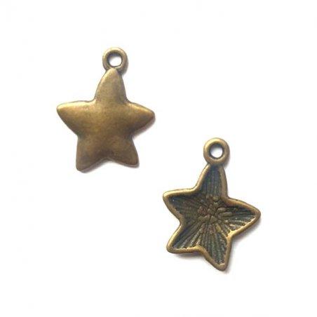 Односторонняя металлическая подвеска Звезда, цвет античная бронза, 15*20 мм (2 штуки)