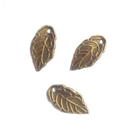 Двухсторонняя металлическая подвеска Листик №3, цвет античная бронза, 8*16 мм (3 штуки)