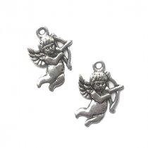 Односторонняя металлическая подвеска Амур, цвет античное серебро, 14*23 мм (2 штуки)