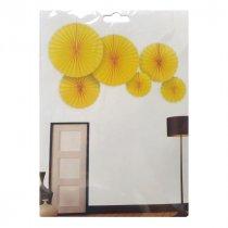 Набор бумажных вееров для декора, цвет желтый (6 штук)