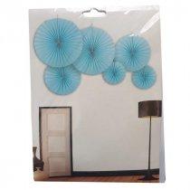 Набор бумажных вееров для декора, цвет нежно-голубой (6 штук)