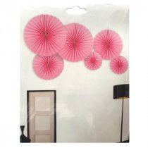 Набор бумажных вееров для декора, цвет розовый (6 штук)