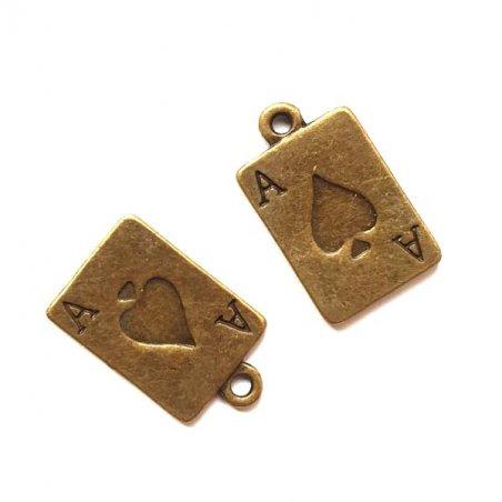 Двухсторонняя бронзовая металлическая подвеска Игральная карта, 13*17 мм (2 штуки)