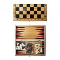 Шахматы деревянные 3 в 1, 30 см