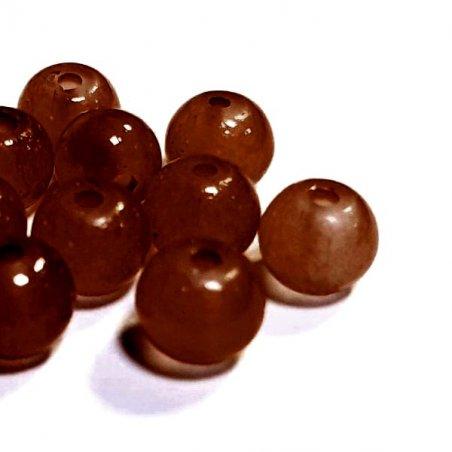 Бусины стеклянные полупрозрачные, 6 мм, цвет коричневый, 10 штук