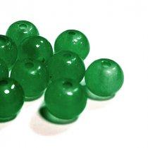Бусины стеклянные полупрозрачные, 6 мм, цвет зеленый, 10 штук