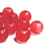 Бусины стеклянные полупрозрачные, 6 мм, цвет красный, 10 штук