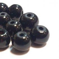 Бусины стеклянные, 6 мм, цвет черный, 10 штук