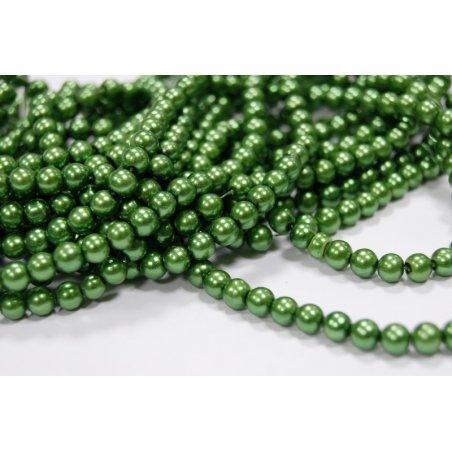 №22 Бусины под жемчуг стеклянные, цвет темно-зеленый, 6 мм, 10 шт